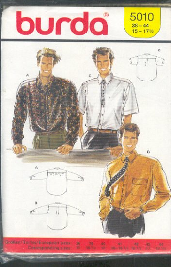 Burda Sewing Pattern 5010 Man's Shirt, Long and short sleeves, Size 38/15 - 44/17
