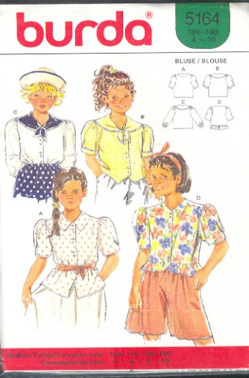 Burda Sewing Pattern 5164 Sweet Girl's Blouses, four styles, Size 4-10