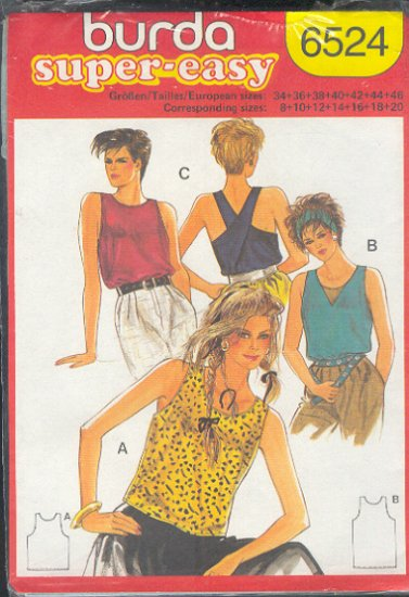 Burda Sewing Pattern 6524 Super Easy, Tank Top with variations, Size 8-20