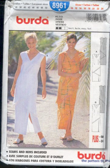 Burda Sewing Pattern 8961 Summer Sheath Dress Size 10  - 24