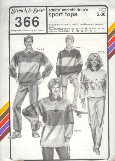 Stretch & Sew Sewing Patterns 366 Sport tops adult bust size 30-46, child chest size 21 - 31
