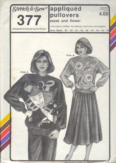 Stretch & Sew Sewing Patter 377 Appliqued Pullover Bust Size 30 - 46