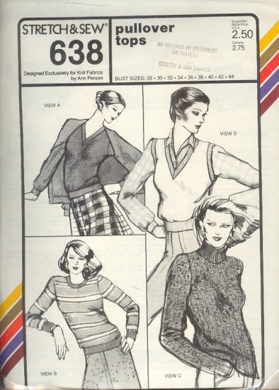 Stretch & Sew Sewing Pattern 638 Pullover tops with neckline variations, Size bust 28 - 44