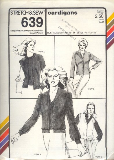 Stretch & Sew Sewing Pattern 639  Cardigans with varitions, Bust sizes 28 - 44