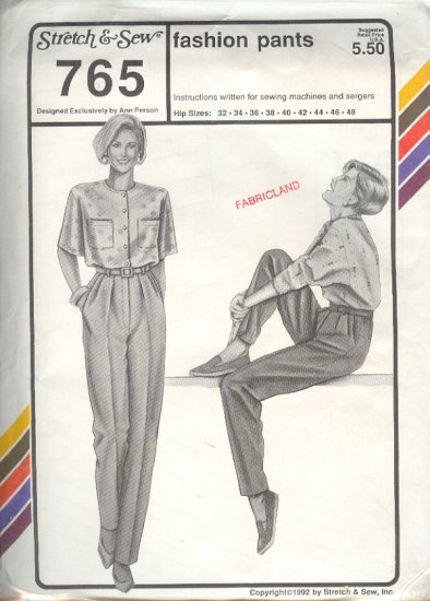 Stretch & Sew Sewing Pattern Dress Pants, hip sizes 32  - 48