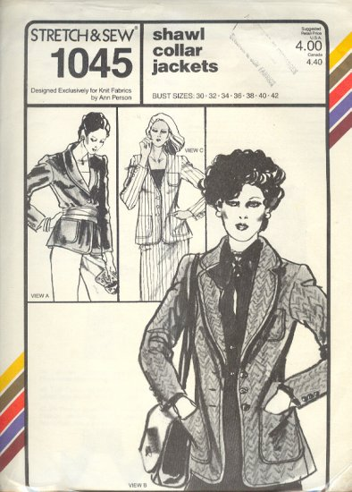 Stretch & Sew Sewing Pattern 1045 Shawl Collar Jackets, bust size 30 - 42