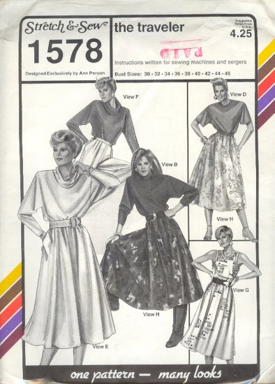 Stretch & Sew Sewing Pattern 1578 The Traveler Wardrobe, Bust size 30 - 46