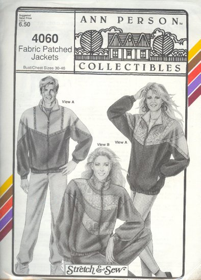 Stretch & Sew Sewing Pattern 3060 Fabric Patched Jackets, Chest size 30 - 46