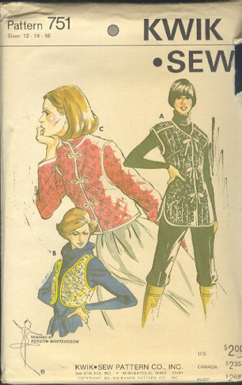 Kwik Sew Sewing Pattern 751 Quilted jacket and two vests, Size 12 14 16