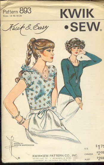 Kwik Sew Sewing Pattern 893 Top in two versions, Sizes 14 - 20
