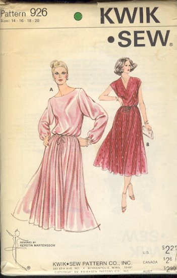 Kwik Sew Sewing Pattern 926 Beautiful Dress full skirt blasoon top, Sizes 14 - 20