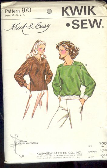 Kwik Sew Sewing Pattern 970 Pullover Top with neckline variations, Size Bust 31 - 42