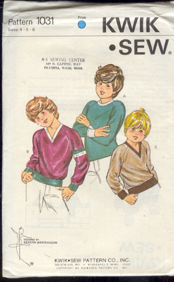 Kwik Sew Sewing Pattern 1013 Boy's Pullover shirt with neck and hem variations, Sizes 4 5 6