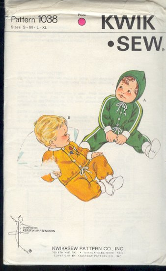Kwik Sew Sewing Pattern 1038 Baby Pants, Top and Jacket with hood, Sizes 0 - 18 months