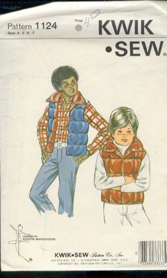 Kwik Sew Sewing Pattern 1124 Boy's Qulted or down vest, lined, sizes 4 - 7