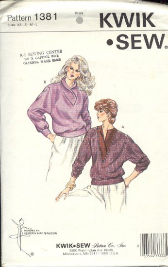 Kwik Sew Sewing Pattern 1381 Pullover Sweather with handsome necklines, Bust Size 32 - 42