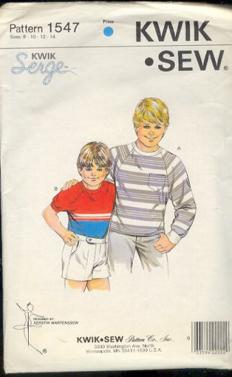 Kwik Sew Sewing Pattern 1547 Boy's Raglan Sleeve T Shirts, Size 8 - 14