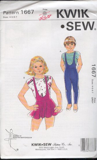 Kwik Sew Sewing Pattern 1667 Child's Dance Leotards, Size 4 - 7