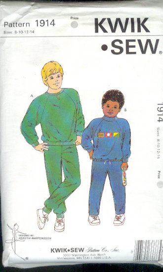Kwik Sew Sewing Pattern 1914 Boy's Sweats, Size 8 - 14