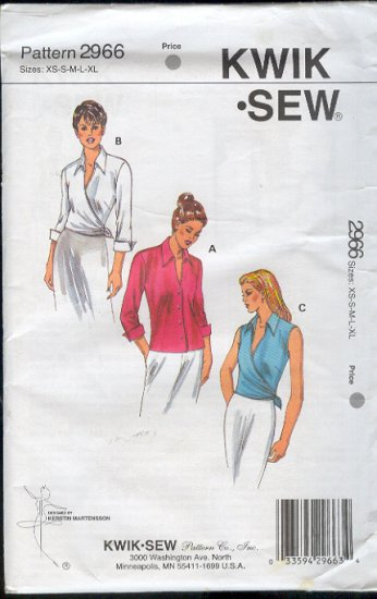 Kwik Sew Sewing Pattern 2966 Blouse and Wrap Blouse Bust Size 32 - 45