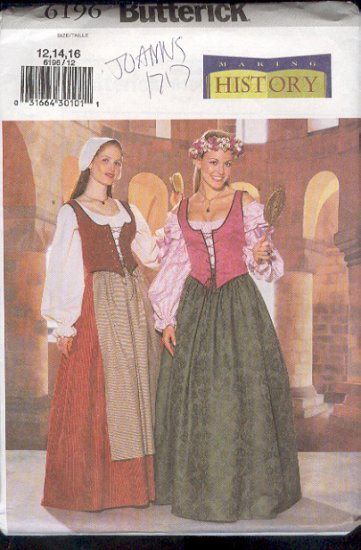 Butterick Sewing Pattern 6196 Historical Dress Pattern, Renaisance Costume, Sizes 12 14 16