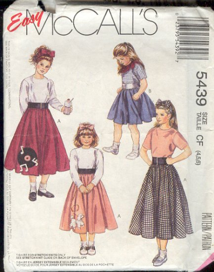 McCall's Sewing Pattern, 5439 Girl's Circle Poodle Skirt with variations, Size 4 5 6