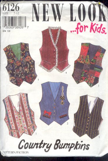 New Look Sewing Pattern 6126 Vests for Kids, Size 7 - 12