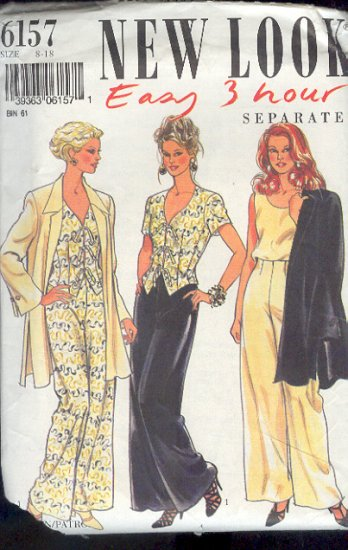 New Look Sewinig Pattern 6157 Jacket, Wesket, Pant and Tank Top, Size 8 - 18