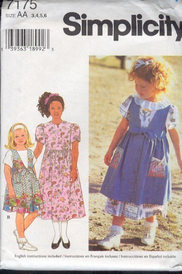 Simplicity  Sewing Pattern 7175 Girl's Dress and Jumper, Size 3 - 6