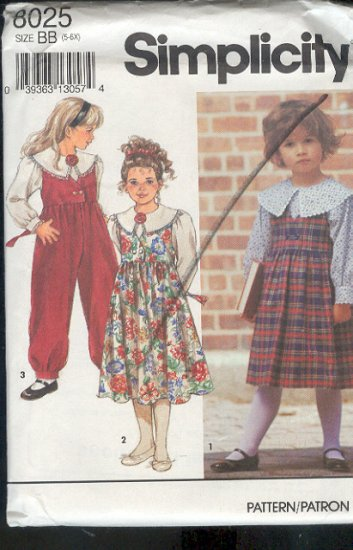 Simplicity Sewing Pattern 8025 Girl's Fancy Blouse, Jumper and Jumsuit, Size 5-6X