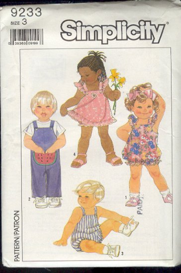 Simplicity Sewing Pattern, Toddler Jumper, Romper and Overall, Size 3