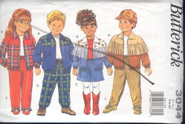 Butterick Sewing Pattern 3044 Child's Jacket, Pants and Skirt, Size 5 6 6X
