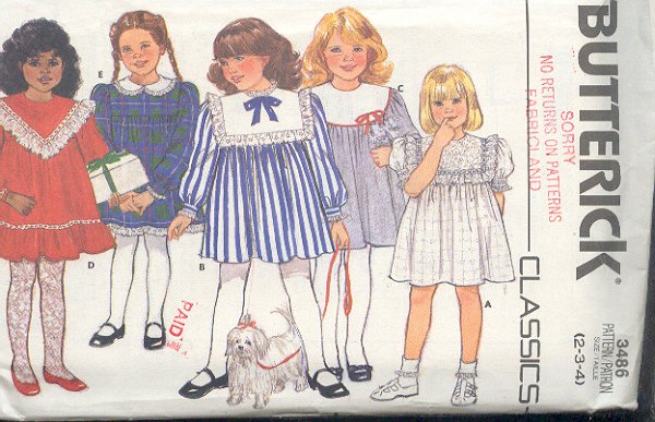 Butterick Sewing Pattern, 3486, Girl's dress with various collars, Sweet, Size 2 3 4