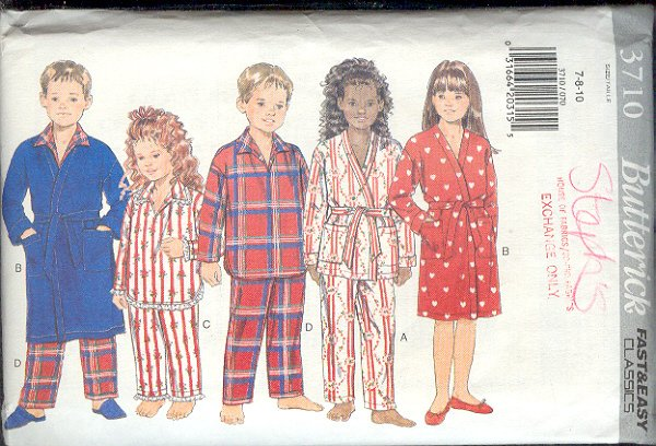Butterick Sewing Pattern 3710 Robe and Pajamas, Size 7 8 10