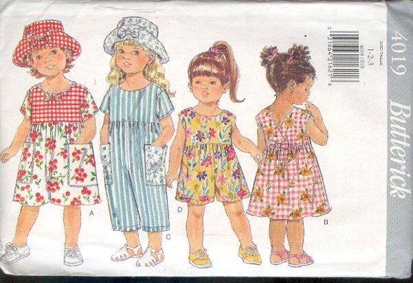Butterick Sewing Pattern 4019 Dress, Jumpsuit and hat, Size 1 2 3