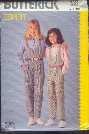 Butterick Sewing Pattern 4233 by Esprit, Jumpsuit and shirt, Sizs 7 8 10