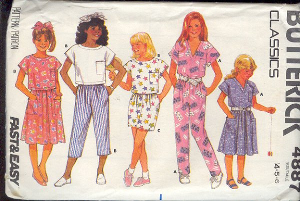 Butterick Sewing Pattern 4887 Top, Skirt, Pants, Shorts and Crop Top Size 4 5 6