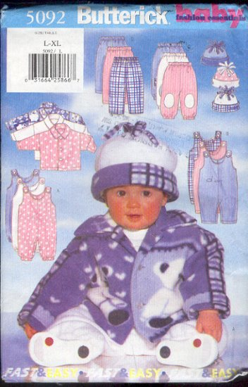 Butterick Sewing Pattern 5092 Fleece Jacket, Jumpsuit, Pants and Hat, Size 22 - 29 lbs.