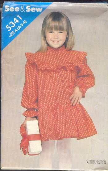 Butterick Sewing Pattern 5341 Girl's cute dress, Size 2 3 4