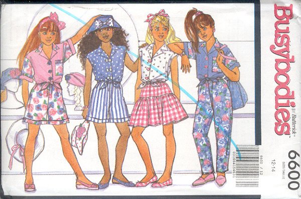 Butterick Sewing Pattern 6600 Top, Shorts, Pants and Skirt, Sizes 12 14
