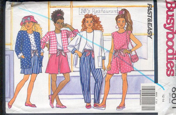 Butterick Sewing Pattern 6601 Jacket in two lengths, Top, Shorts and Pants for sizes 12 14