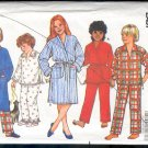 Butterick Sewing Pattern, 6974 Pajamas and Robe for sizes 12 14 Child