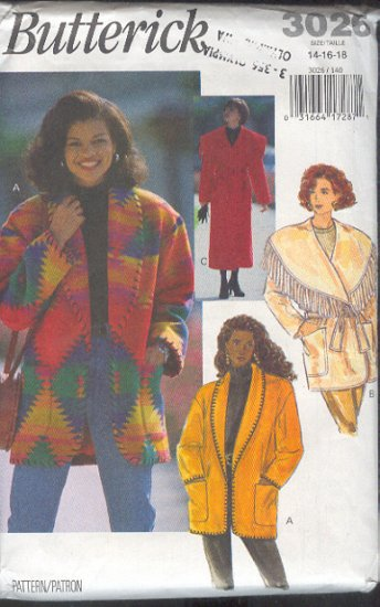 Butterick Sewing Pattern 3026 Coat and Jacket with large and small shawl collar, Sizes 14 16 18