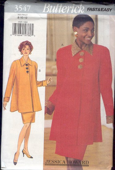 Butterick Sewing Pattern 3547 Top/Jacket and Skirt, Size 8 10 12