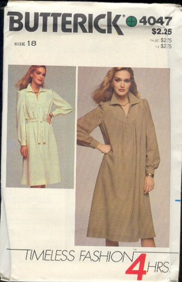 Butterick Sewing Pattern 4047 Full dress with belt , Size 18