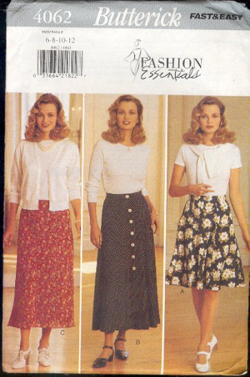 Butterick Sewing Pattern 4062 Skirts inthree fullness, from Fashion Essentials, Size 6 - 12