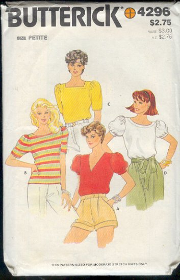 Butterick Sewing Pattern 4296 Pretty Blouse with several variations, Size 6