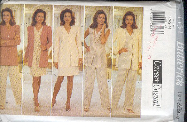 Butterick Sewing Pattern 4451 Jacket, Vest/Blouse, skirt and pant, Size 16-22
