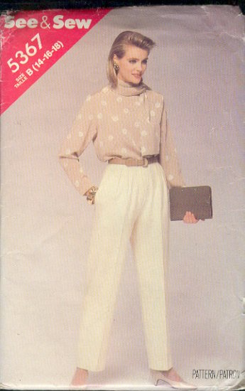 Butterick Sewing Pattern 5367 Blouse, Trousers and Scarf, Size 14 16 18