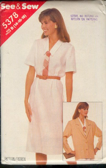 Butterick Sewing Pattern 5378 Dress and Jacket, Size 14 16 18